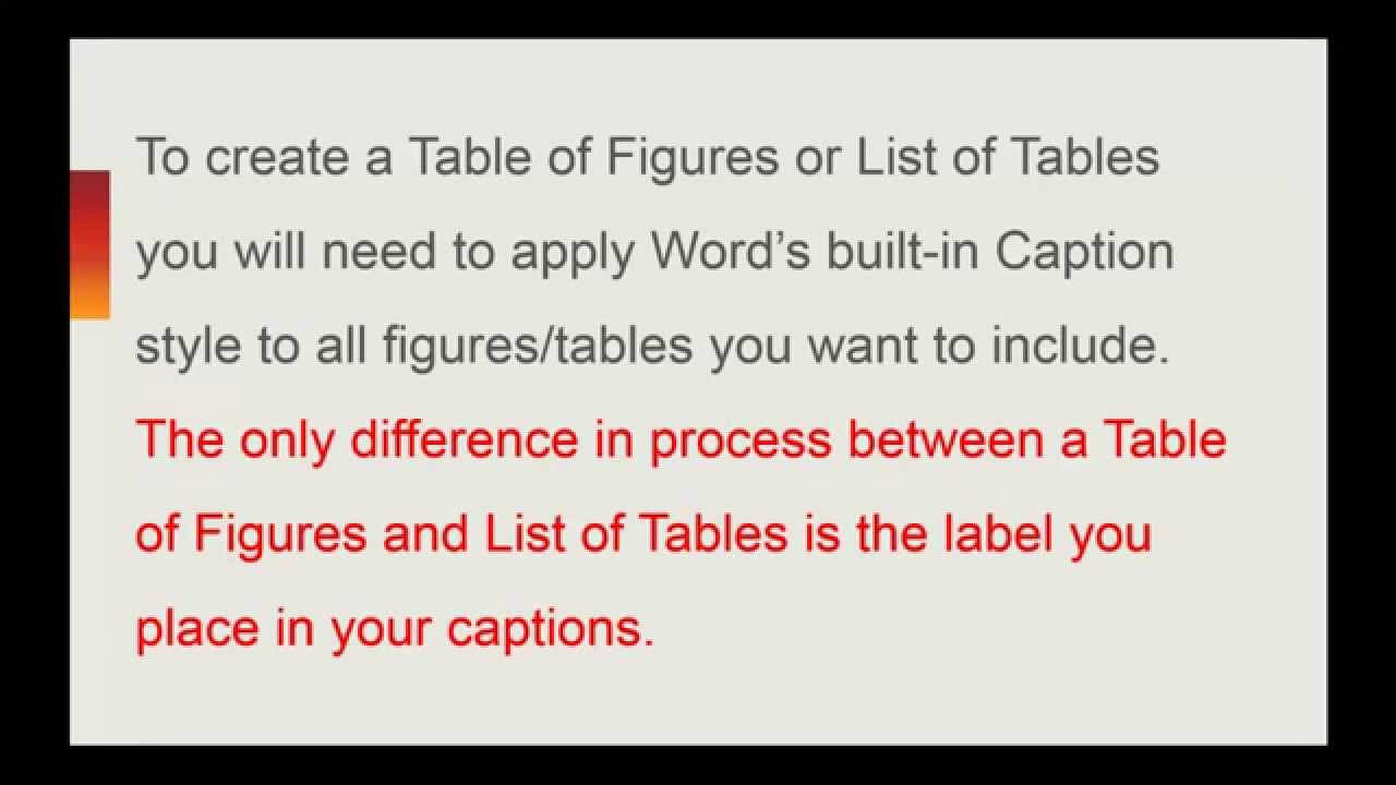 Microsoft word generate list of tables