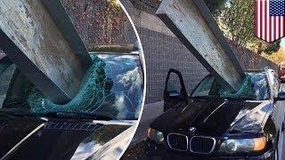 На БМВ упала металлическая балка; водитель чудом выжил(, 2015-12-16T09:40:09.000Z)