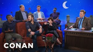 "The ""Avengers: Infinity War"" Cast On The Captain America Virgin Theory  - CONAN on TBS"