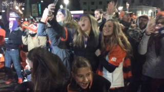 Crowd in downtown Clemson explodes as Tigers score