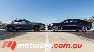 Ford Mustang GT v Kia Stinger GT Drag Race | motoring.com.au