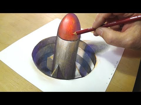 How to Draw 3D Rocket - Drawing missile in Hole - 3D Trick Art Illusion