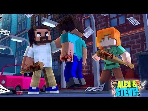ALEX & HER BOYFRIEND TRY TO KILL STEVE!! Minecraft LIFE of ALEX & STEVE