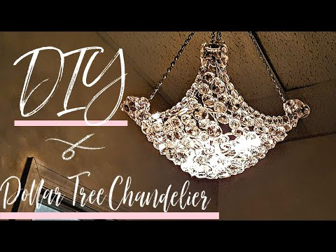 DIY Chandelier W/ Mostly Dollar Tree Items | Glam Decor | Light Fixture | Hanging Lamp | Room Decor