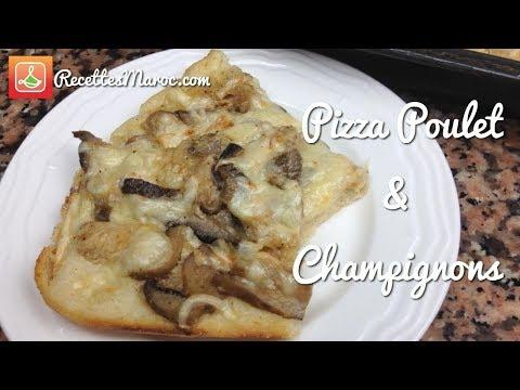recette-pizza-au-poulet-&-champignons