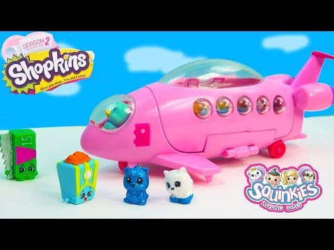 Shopkins Fan Squinkies Pop Star Private Jet Airplane Season 2 Playset Playing Video Cookieswirlc