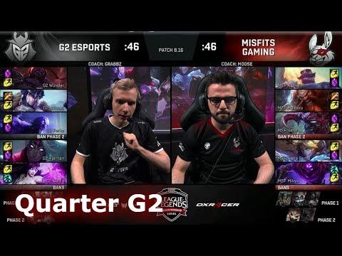 Misfits vs G2 eSports | Game 2 Quarter Finals S8 EU LCS Summer 2018 | MSF vs G2 G-2