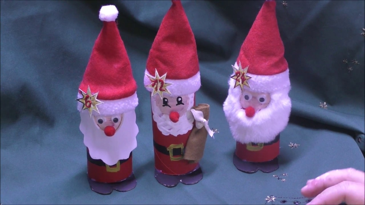 Weihnachtsmann Adventskalender Basteln.Weihnachtsmann Aus Klo Rollen Fur Adventskalender