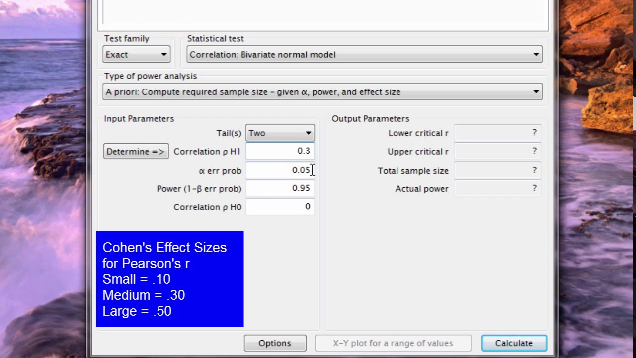 Power Analysis - Pearson r Correlation Coefficient Using G Power ...