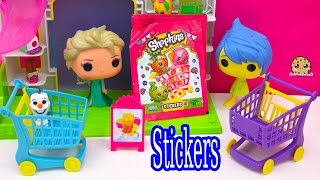 4 Pack Shopkins Sticker Unboxing with Disney Pixar Inside Out Joy and Frozen Queen Elsa