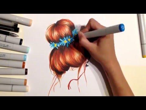 Fashion art - how to draw: hair ( как рисовать волосы с цветами, пучек) Yana Gorbatiyk, copic sketh