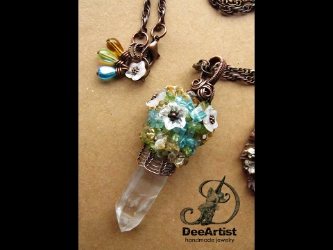 Reversible Clear Quartz crystal point, Copper Wire Wrapped & Woven pendant by DeeArtist, 2017