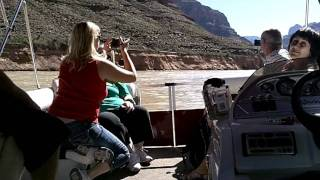 start of the pontoon boat ride on the colorado river at the floor of the grand canyon.