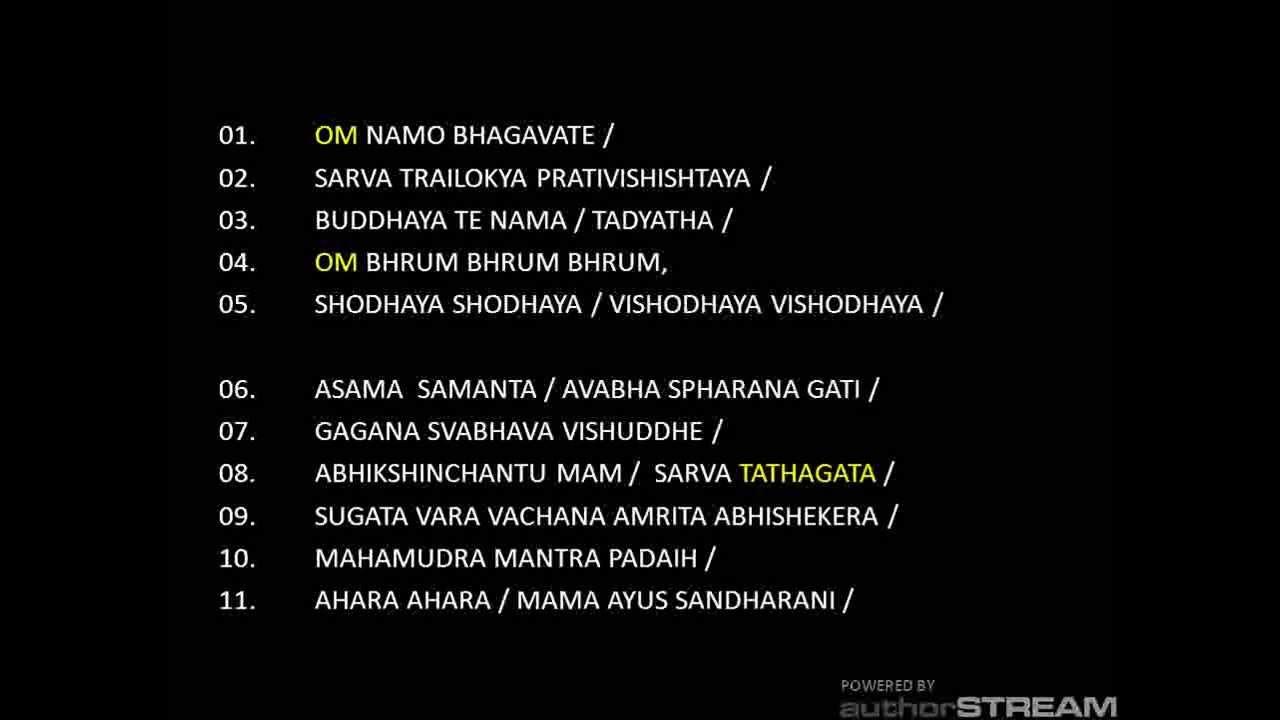 Usnisa vijaya dharani english translation
