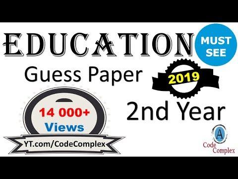 Education Guess paper - FA Education 2019 (2nd year) - [ba Education