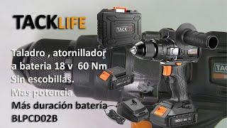 Taladro Atornillador Eléctrico, 18V bateria, sin escobillas, 60N.m