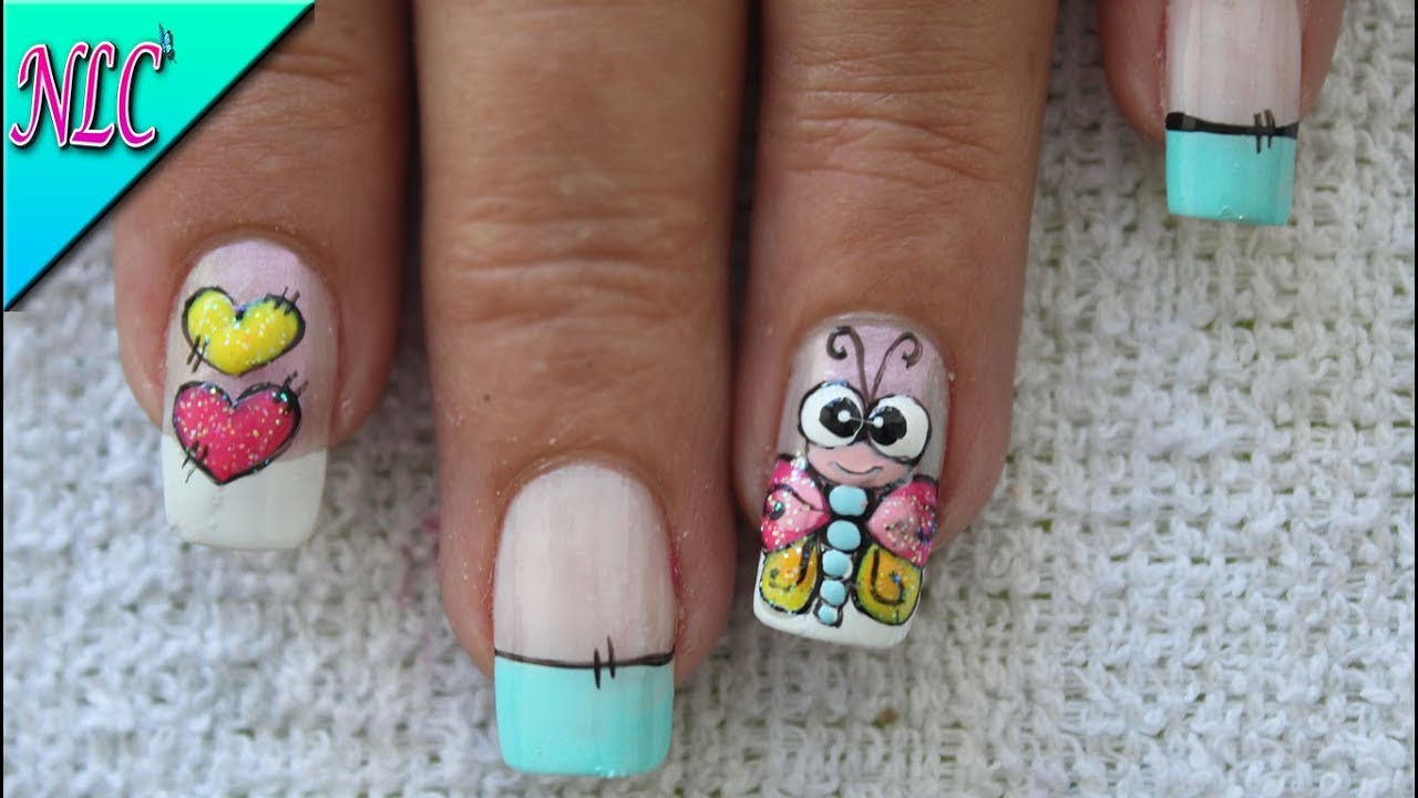 Decoración De Uñas Libélula Y Corazones Dragon Fly Nail Art