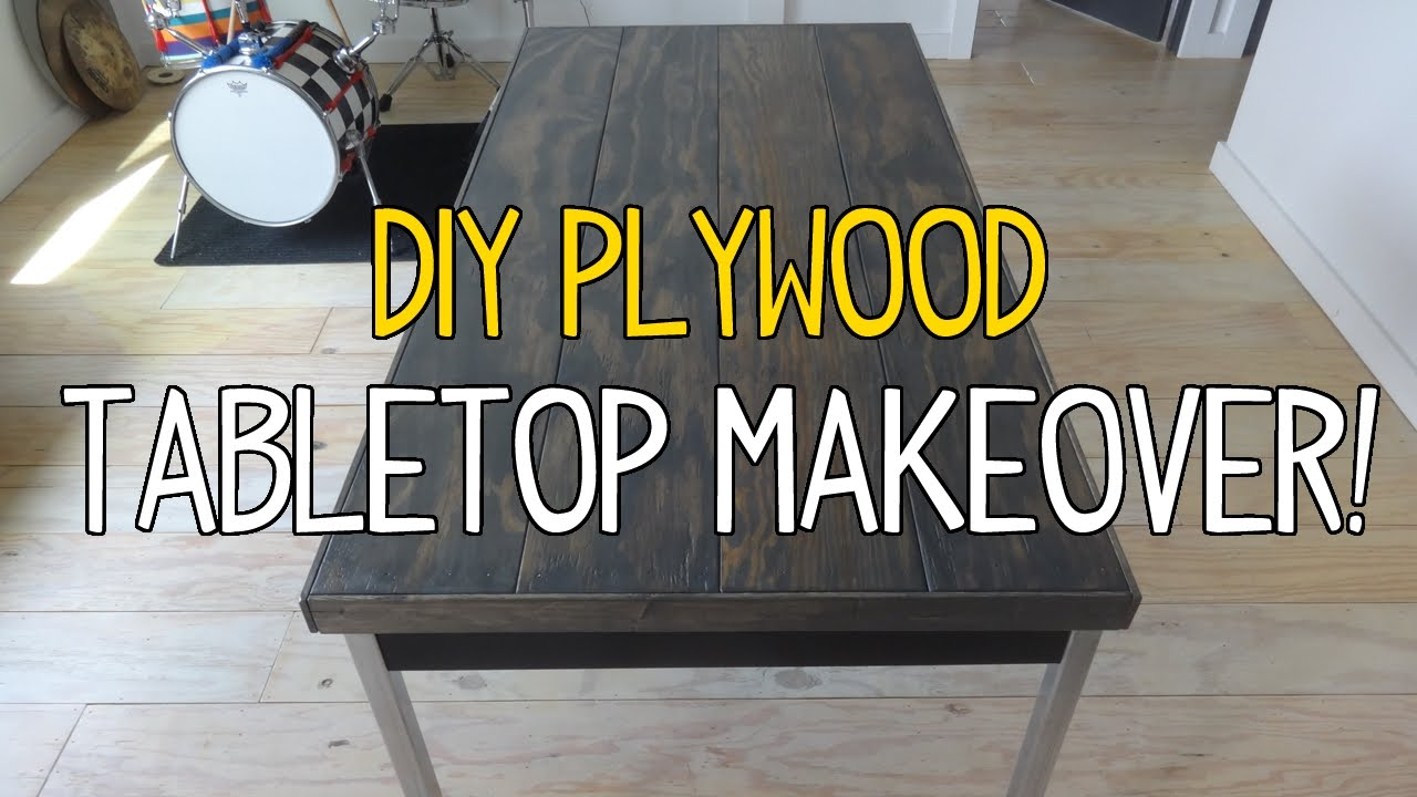 Simple diy plywood plank tabletop makeover youtube solutioingenieria Image collections