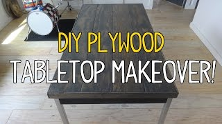 Simple DIY Plywood Plank Tabletop Makeover!