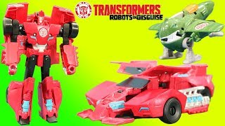 Transformers Robots in Disguise Combiner Force Great Byte & Sideswipe Race and Battle!