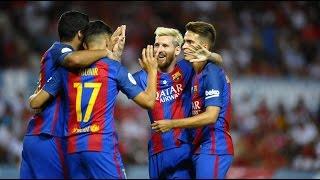 اهداف كاملة مباراة برشلونة واشبيلية 3-0 تعليق عصام عبده - اياب السوبر الاسباني[17-8-2016] HD