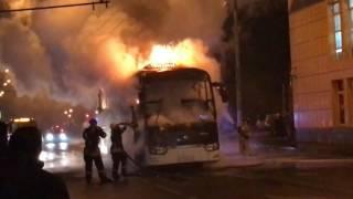 Автобус горит в Москве
