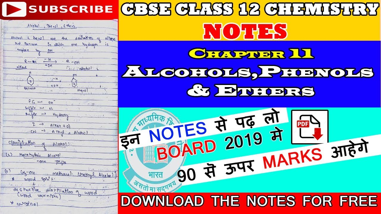 Alcohols Phenols And Ethers Class 12 Notes Pdf