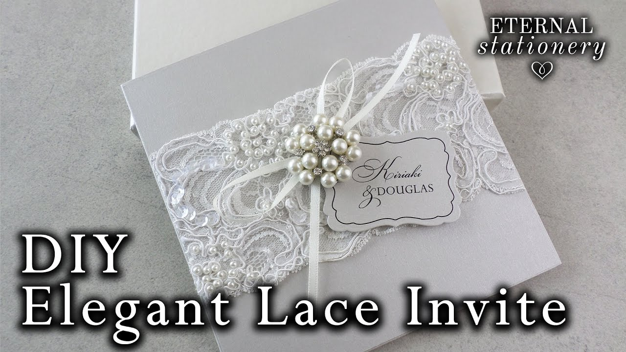 Wedding Invitation Lace: Elegant Beaded Lace And Brooch Wedding Invitation