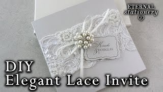 Elegant beaded lace and brooch wedding invitation   DIY Wedding Invitations