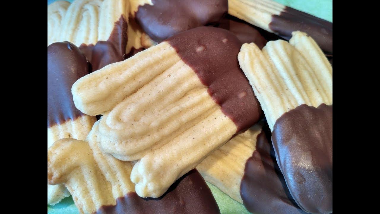 recette des sabl s viennois ou spritz biscuits maison au chocolat youtube. Black Bedroom Furniture Sets. Home Design Ideas