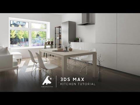 3Ds Max Living & Kitchen Design Tutorial Light Photosop [HD]