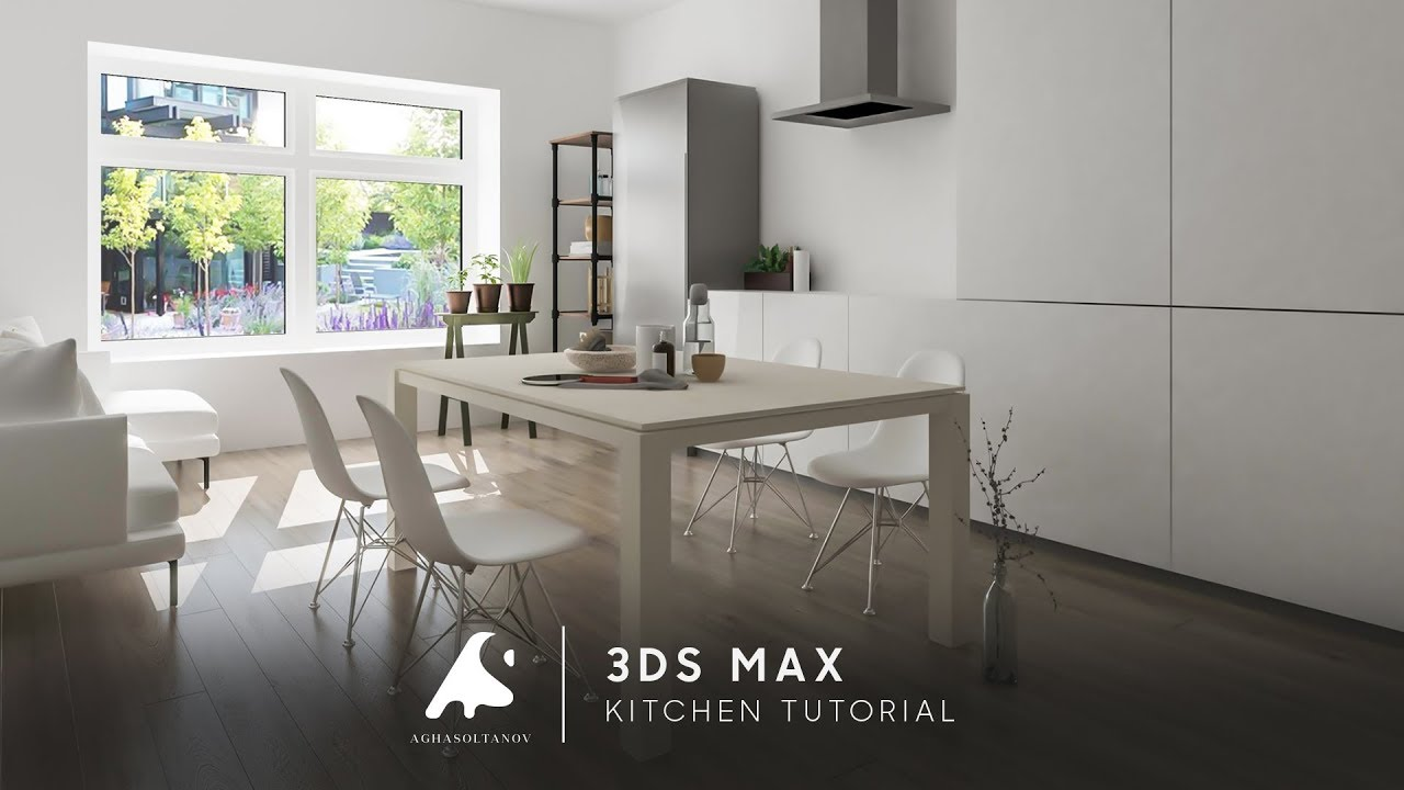 3ds Max Living Kitchen Design Tutorial Light 2016 Photosop Hd Youtube