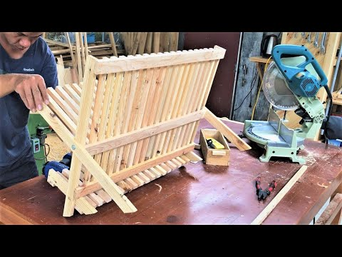 cool-design-ideas-pallets-woodworking-projects-//-compact-&-foldable-dish-shelf