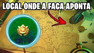 VASCULHE NO LOCAL ONDE A FACA APONTA - Fortnite Desafios Semana 6 (Passe de Batalha 8)