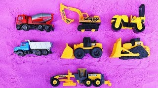 Learn Construction Vehicles Names | Trucks And Heavy Vehicles For Kids | Excavator , Cement Truck