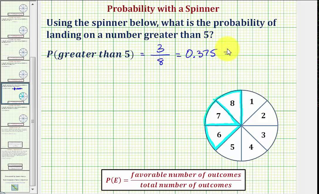 Ex Find The Probability Of Landing On An Number Greater