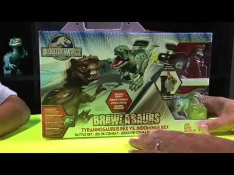 BRAWLASAURS! Jurassic World Dinosaurs! Trex vs. Indominus Rex
