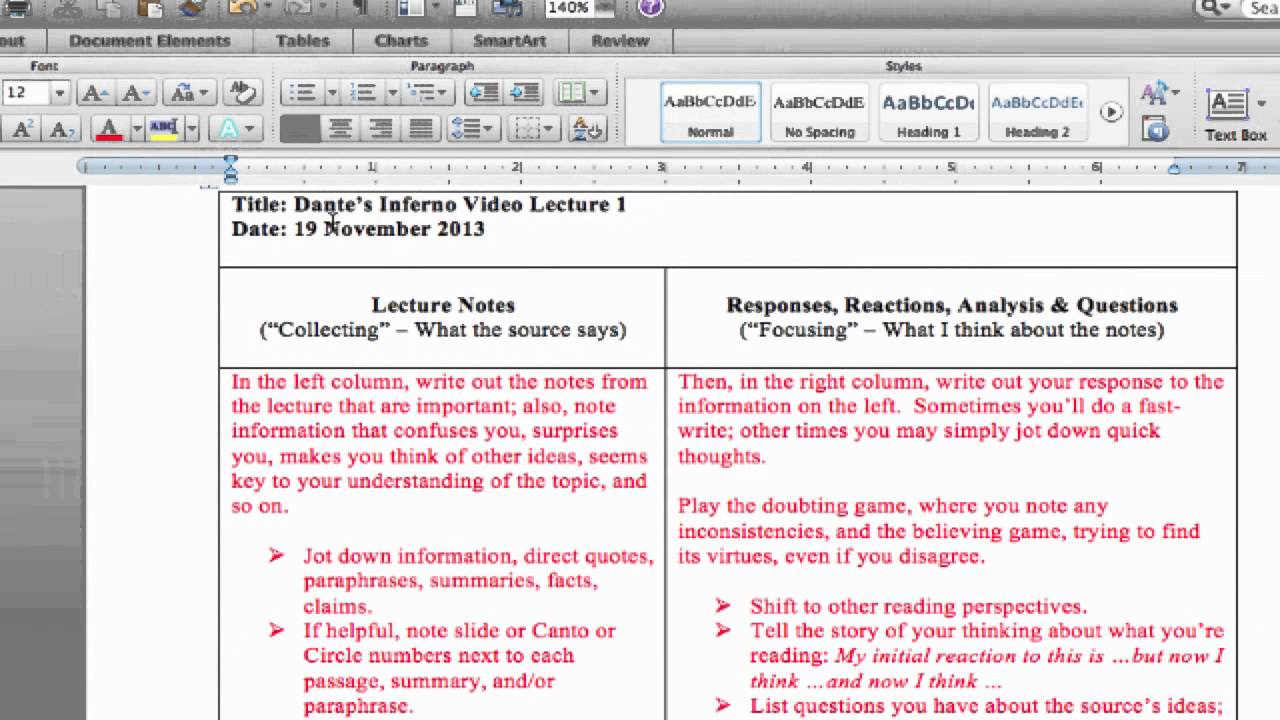 Cornell Notes / Double Entry Journal - Taking Notes - WAB Learns With Double Entry Journal Template For Word