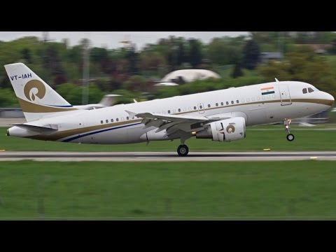 [FullHD] Reliance Industries Airbus A319CJ landing at Geneva/GVA/LSGG