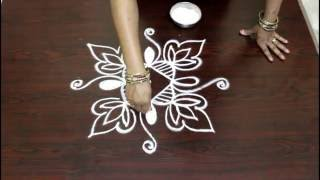 easy rangoli designs with 7 to 1 straight dots- muggulu designs with dots- simple kolam designs