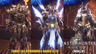 Monster Hunter: World / Todas Las Armaduras Alto Rango (Male) -En Español HD 1080p