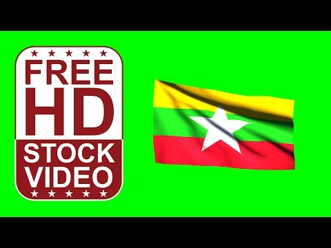 FREE HD video backgrounds –Myanmar(Burma) flag waving on green screen – 3D animation