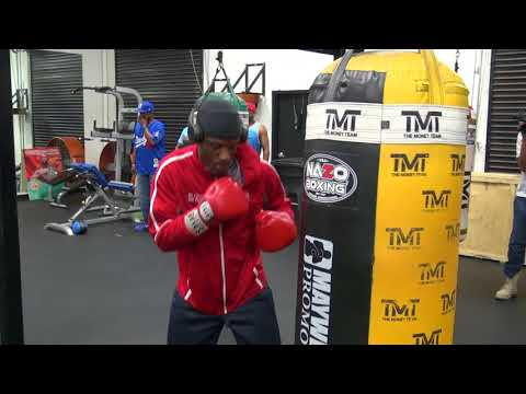 Tony Harrison getting in work on the bag at the Mayweather Boxing Club