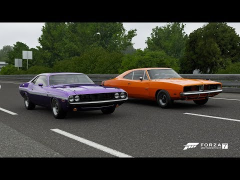 Forza 7 Drag race: 1970 Dodge Challenger R/T vs 1969 Dodge Charger R/T