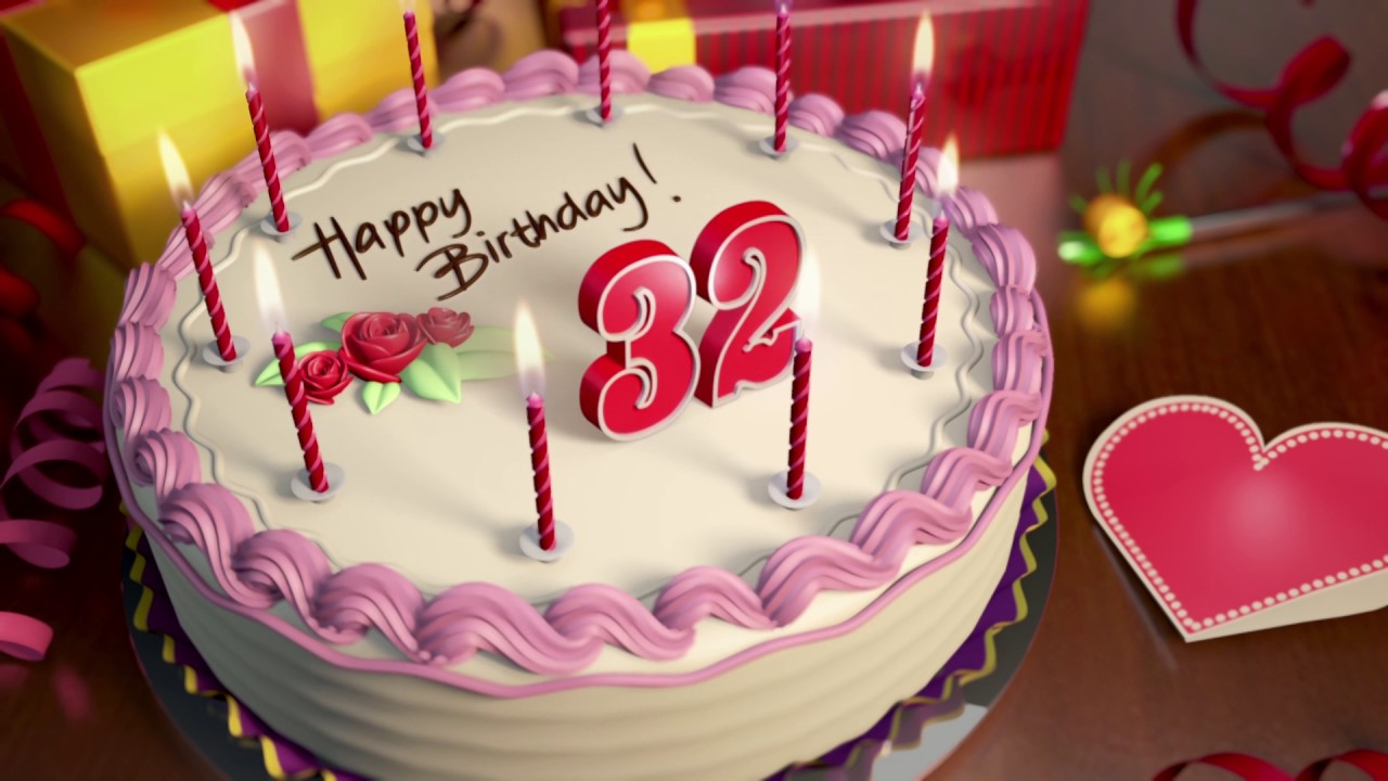 Happy 32nd Birthday Cake Animation
