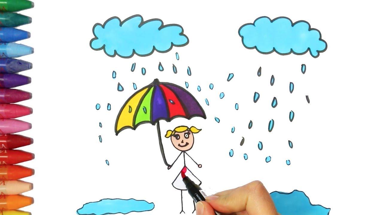 Un Bambino In Possesso Di Un Ombrello Sotto La Pioggia Come Disegnare E Colora Per I Bambini Youtube