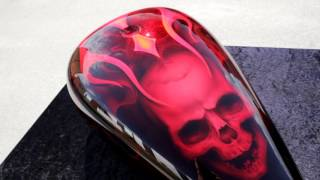 Video Custom Bike Parts Airbrush Paint Skull Flames Candy Red download MP3, 3GP, MP4, WEBM, AVI, FLV Agustus 2018