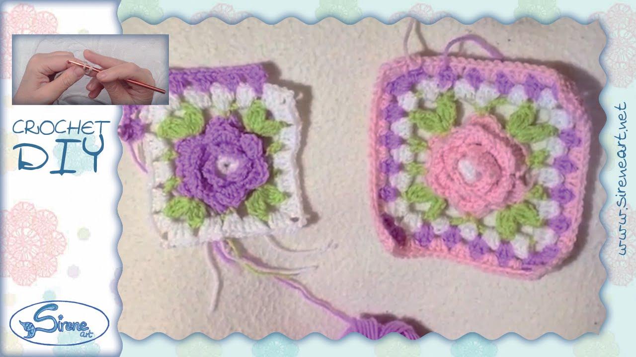Tutorial uncinetto ❀ mattonella con fiore 3d [3d flower block