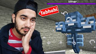 Wither Boss Fight Gone Horribly Wrong [Unlucky Spawn]🥺[Minecraft]