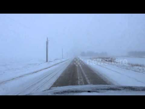 Winter storms in Manitoba, Canada make driving conditions treacherous